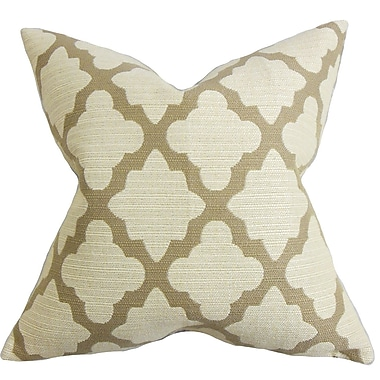 Darby Home Co Freemont Geometric Cotton Blend Floor Pillow; Brown