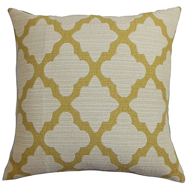 Darby Home Co Freemont Geometric Cotton Blend Floor Pillow; Yellow/Natural