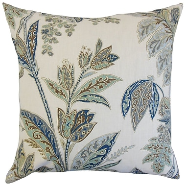Darby Home Co Fritsch Floral Cotton Blend Floor Pillow; Indigo