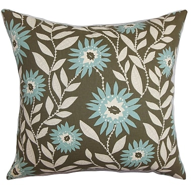 Darby Home Co Fullerton Floral Cotton Blend Floor Pillow; Blue/Brown