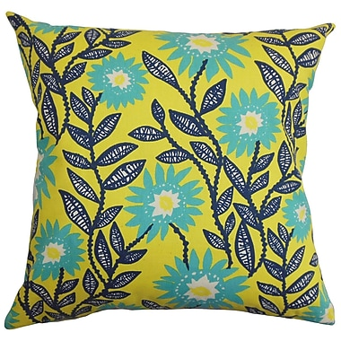 Darby Home Co Fullerton Floral Cotton Blend Floor Pillow; Yellow