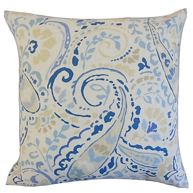 Darby Home Co Fullmer Floral Cotton Blend Floor Pillow; Ocean