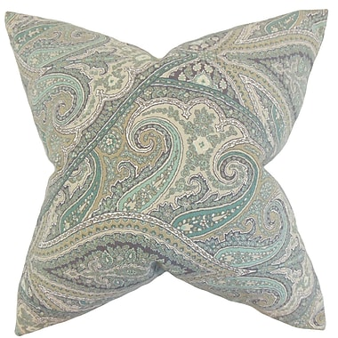 Darby Home Co Galilee Paisley Cotton Blend Floor Pillow; Aquamarine
