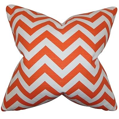 Ebern Designs Chappell Chevron Cotton Blend Floor Pillow; Tangerine