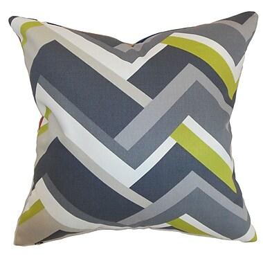 Longshore Tides Armona Geometric Cotton Blend Floor Pillow; Gray