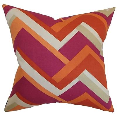 Longshore Tides Armona Geometric Cotton Blend Floor Pillow; Mango