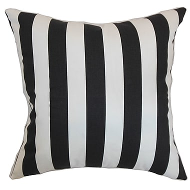 Longshore Tides Ardon Stripes Cotton Blend Floor Pillow; Black/Natural