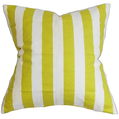 Longshore Tides Ardon Stripes Cotton Blend Floor Pillow; Green