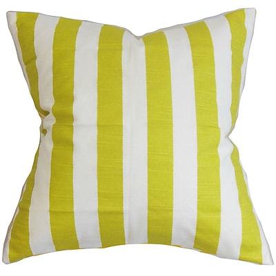 Longshore Tides Ardon Stripes Cotton Blend Floor Pillow; Green