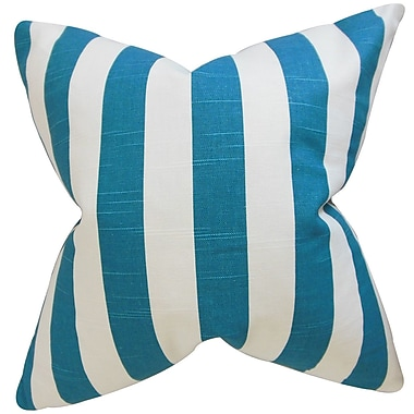 Longshore Tides Ardon Stripes Cotton Blend Floor Pillow; Turquoise