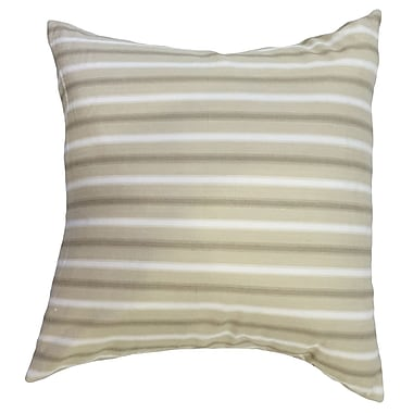 Longshore Tides India Striped Down Filled 100pct Cotton Lumbar Pillow; Tan