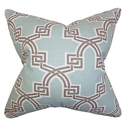 Everly Quinn Mahesh Geometric Cotton Blend Floor Pillow; Blue