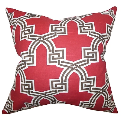 Everly Quinn Mahesh Geometric Cotton Blend Floor Pillow; Red