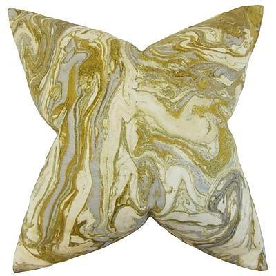 Everly Quinn Malia Geometric Cotton Blend Floor Pillow; Gold/Silver