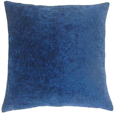 Everly Quinn Luyster Solid Cotton Blend Floor Pillow; Sapphire
