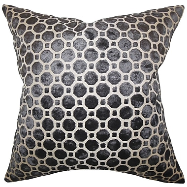 Everly Quinn Maeve Geometric Cotton Blend Floor Pillow; Black