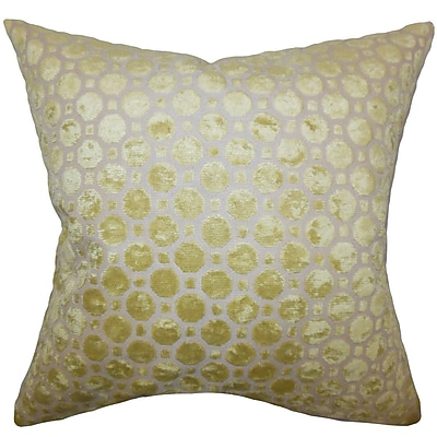 Everly Quinn Maeve Geometric Cotton Blend Floor Pillow; Citrine