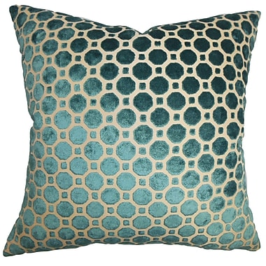 Everly Quinn Maeve Geometric Cotton Blend Floor Pillow; Turquoise