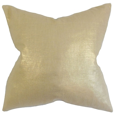 Everly Quinn Abra Solid Cotton Blend Floor Pillow; Caramel