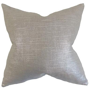Everly Quinn Abra Solid Cotton Blend Floor Pillow; Pewter