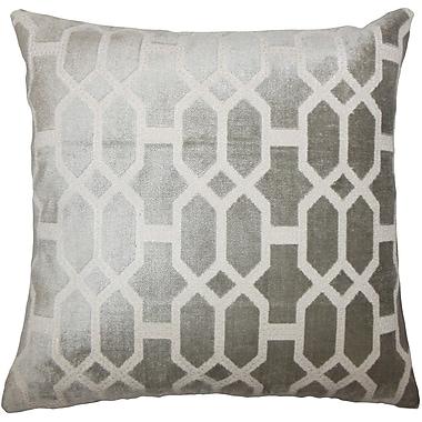 Everly Quinn Absher Geometric Cotton Blend Floor Pillow; Gray