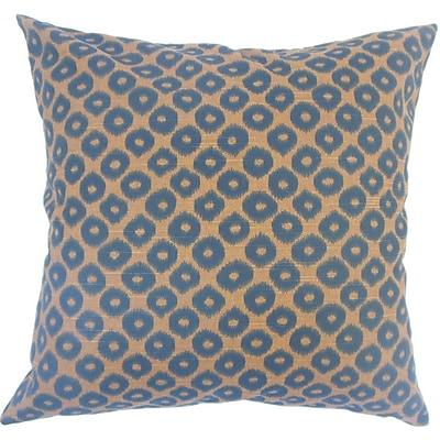 Everly Quinn Terah Ikat Down Filled 100pct Cotton Lumbar Pillow; Chocolate