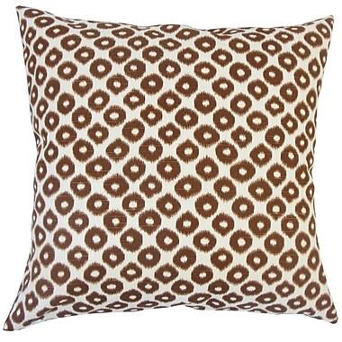 Everly Quinn Acamar Ikat Floor Pillow Chocolate; Tobacco