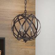 Everly Quinn Adcock 3-Light Steel Globe Pendant; Russet
