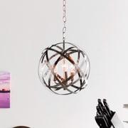 Everly Quinn Adcock 3-Light Steel Globe Pendant; Brushed Nickel