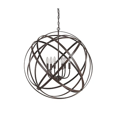 Everly Quinn Adcock 6-Light Steel Globe Pendant; Russet