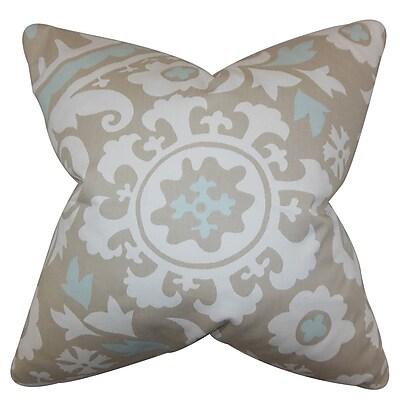 Harriet Bee Darian Floral Cotton Blend Floor Pillow; Powder Blue