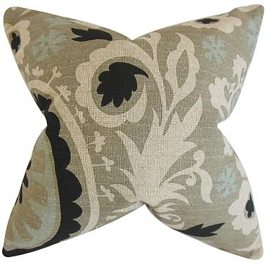 Harriet Bee Darian Floral Cotton Blend Floor Pillow; Stone