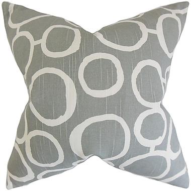 Ivy Bronx Beltran Geometric Cotton Blend Floor Pillow; Ash