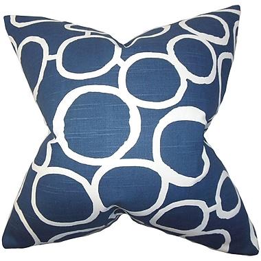 Ivy Bronx Beltran Geometric Cotton Blend Floor Pillow; Blue