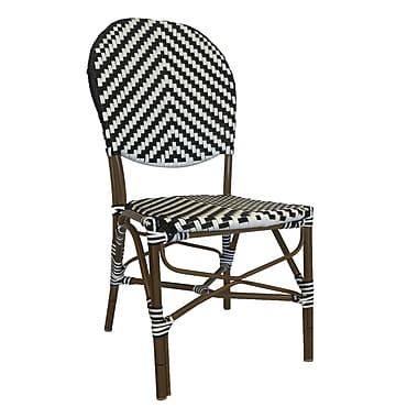 Ivy Bronx Beirut Traditional Metal Stacking Dining Side Chair (Set of 4); White/Black