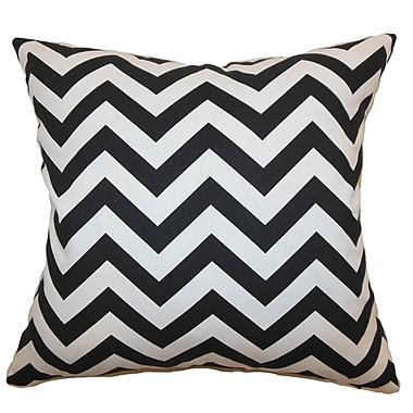 Latitude Run Burd Zigzag Cotton Blend Floor Pillow; Black