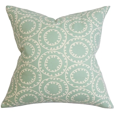Latitude Run Althoff Geometric Cotton Blend Floor Pillow; Blue