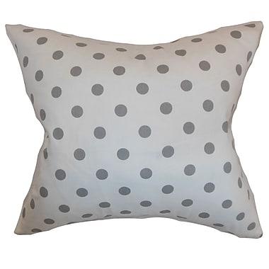 Latitude Run Berrien Polka Dots Cotton Blend Floor Pillow; White