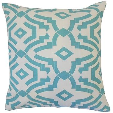 Latitude Run Berriman Geometric Cotton Blend Floor Pillow; Blue