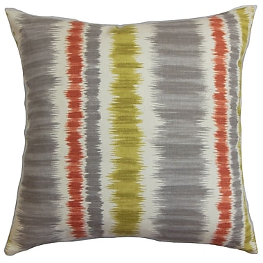 Latitude Run Berryman Stripes Cotton Blend Floor Pillow; Gray/Green