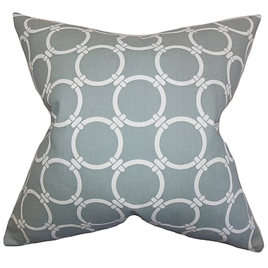 Latitude Run Burt Geometric Cotton Blend Floor Pillow; Gray