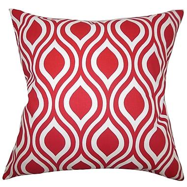Latitude Run Burdge Geometric Cotton Blend Floor Pillow; Red