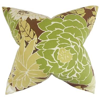 Latitude Run Burwell Floral Cotton Blend Floor Pillow; Fennel