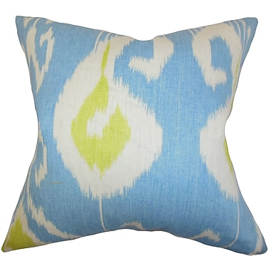 Latitude Run Burgoon Ikat Cotton Blend Floor Pillow; Blue