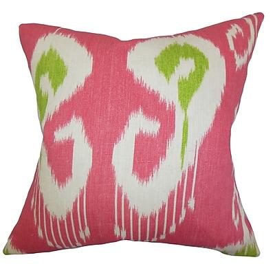 Latitude Run Burgoon Ikat Cotton Blend Floor Pillow; Pink
