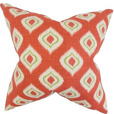 Latitude Run Burkhalter Ikat Cotton Blend Floor Pillow; Tomato
