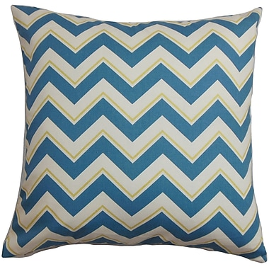 Latitude Run Burkhart Zigzag Cotton Blend Floor Pillow; Blue/White