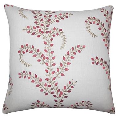 Red Barrel Studio Laverne Floral Floor Pillow Aqua Green; Chili/Pepper