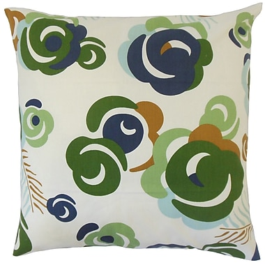 Red Barrel Studio Blackmoor Floral Cotton Blend Floor Pillow; Ultramarine