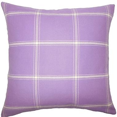 Red Barrel Studio Blake Plaid Cotton Blend Floor Pillow; Hyacinth